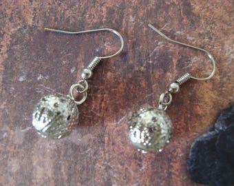 Fancy silver ball earrings