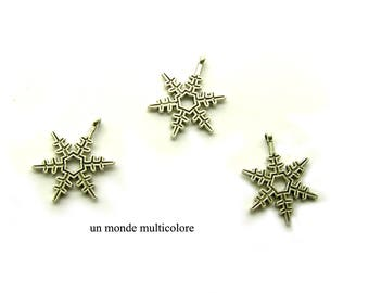 3 charms snowflake 22 x 17 mm antique silver