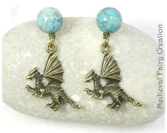 """Earrings """"Flight of dragons"""", brass and glass"""
