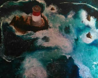 Painting modern Lighthouse Conquet black stones