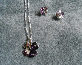 4 leaf clover earring and necklace set