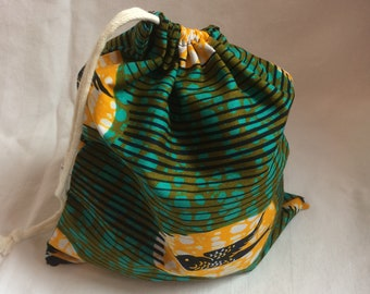 DrawString bag in green African fabric/bird print/travel bag/purse for toys