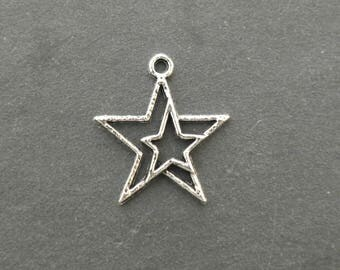 Breloque / pendentif étoiles argent Tibétain