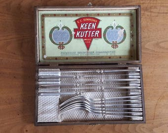 EC Simmons Keen Kutter Silverware complete 12 piece set - vintage silverplate flatware - vintage silver plated set- collectible silverware