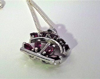 Ruby Pendant Sterling Silver Necklace/Vintage Ruby Cluster Pendant/Free Shipping US/July Birthstone/Christmas/Valentine/Anniversary/Birthday