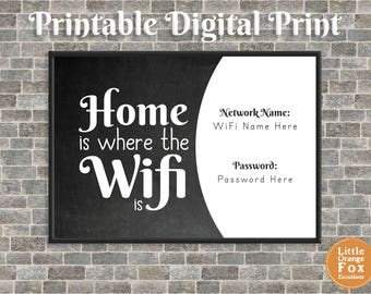 Home Is Where The Wifi Is Sign Picture | Gift for Him | Gift for Her | Family Gift | Printable | DIY (Digital)