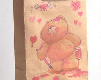 2 bags gift 14 x 11 KRAFT paper baby print Teddy bear and hearts