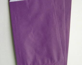 Set of 10 bags gift 12 X 20 in kraft paper purple with gusset