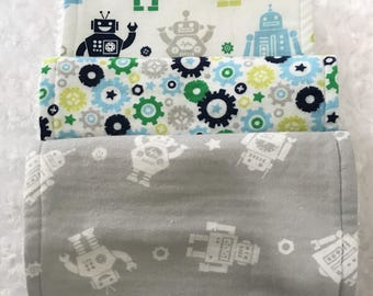 Robot Baby, Robot Burp cloth set - Personalized, Burp cloth set; large burp cloths; baby stocking stuffer