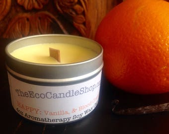 Happy - Aromatherapy soy wax candle with vanilla & blood orange essential oils 4oz