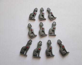 10 breloque chat 28 x 12 mm métal gunmetal et strass rouge