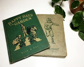 Vintage Set of Two Green Children's Books