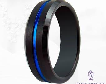 Thin Blue Line Tungsten Wedding Band 6mm