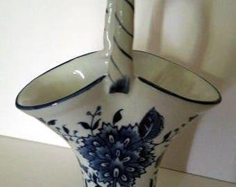 Formalities by Baum blue and white flower vase. Vintage blue vase. Victorian Blue vase, Cottage Chic vase, Flower Vase,  blue and white vase