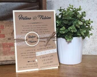 Kraft and lace - set of 10 wedding invitations