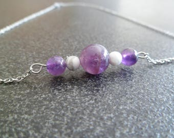 "Necklace ""amethyst and howlite."