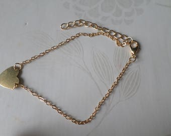 x 1 bracelet 21 cm gold metal heart charm ankle chain