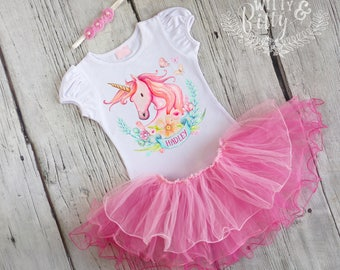 Pink Unicorn Personalized Tutu Set in Pink, Valentines Day Outfit, Pink Tutu Outfit, Shirt Headband Tutu Outfit - C357H