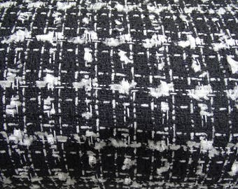 Black and white wool fabric