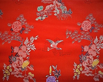 Heavy satin fabric, jacquart, Chinese, red prints