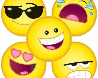 "25 Emoji / Emojis Stickers, 2.5"" x 2.5"" Each"