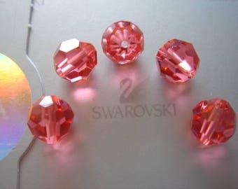 Pearl Crystal swarovski padparadscha 8 set of 5 mm round