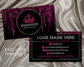 Paparazzi Business Cards, Free Personalized, Paparazzi Jewelry Consultant Card, Pink Business Cards, For Vistaprint or Home Printing, PBCP1