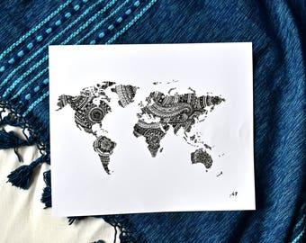 Zentangle Mandala World Map Ink Art Print