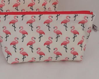 Kit zipped for makeup or multipurpose cotton and waterproof coated flamingo, ivory white faux leather lining