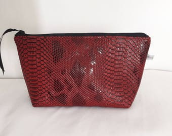 "Toilet bag zippered faux leather ""snake"" Burgundy, beige coated cotton waterproof interior"
