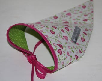 "Headscarf reversible girl ""Flowered hearts"" and green polka dots"