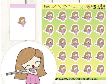 Flute Playing Functional Planner Stickers -