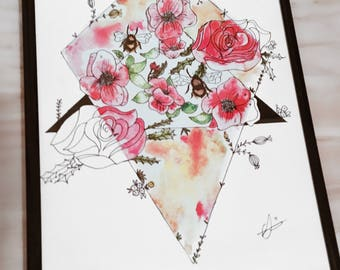 Geometric Poppies and Roses Print