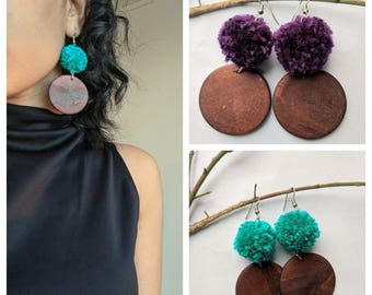 Teal Aubergine Pom Pom Handmade Earrings Wooden beaded Pom-Pom beads Jewelry Lightweight Statement Gift for her Long Earrings Round Yarn Bal