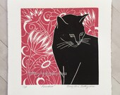 Cat Print, Black Cat Print, Cat Art Print, Cat Block Print, Black Cat Block Print, Block Print, Lino Cut Print, Cat Lino Cut Print