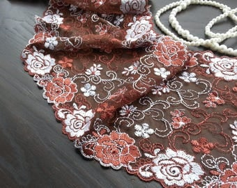 1yd (0.91m) of Embroidered Tulle Lace- Brown with floral pattern - 17cm (6.69inch) Wide,RL_EM002
