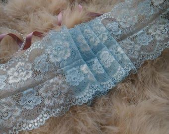 1yd (0.91m) of Raschel Stretch Lace-Bright water blue and creamy floral pattern - 13.5cm(5.3inch) Wide,RL_SL019