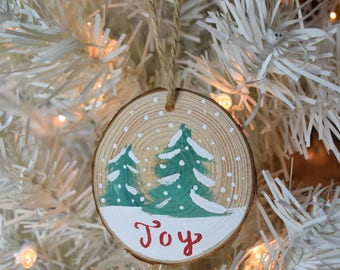 Joy Snowy Scene Wooden Christmas Ornament