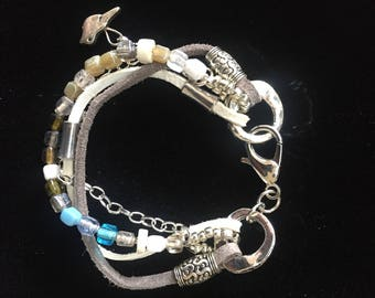 Leather, Bead and Chain Bracelet