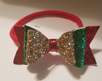 Layered Sparkly Faux Leather Hair Bow
