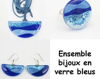 Matching blue glass jewelry set