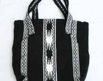 Black and white organic cotton shoulder strap bag