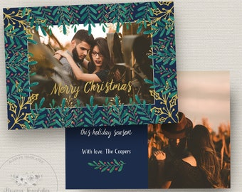 Blue Christmas Card Template, Gold Photo Christmas Card Template, Photoshop Christmas Card Template, Holiday Card Template, PSD Template