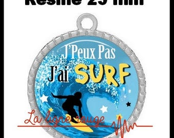 Round Cabochon 25 mm epoxy resin pendant - I can't I surf (3054)