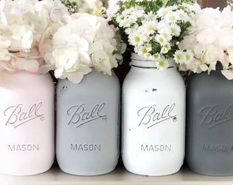 Painted mason jar in vintage colors. You choose! Vintage pink, white, ivory, taupe, blue/gray, greige, gray, dark gray, antique collection.