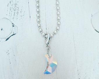 twentyonehappinezz • silverplated ballchain necklace with swarovski hanger: moon.