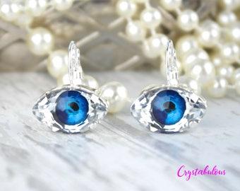 Evil Eye Earrings, Crystal Earrings, Eye Earrings, Swarovski Earrings, Third Eye Earrings, Swarovski Crystal Earrings, Good Luck, Gift.