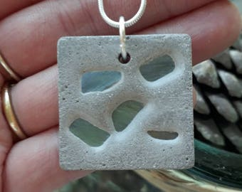Green cubic zirconia and concrete necklace-concrete jewellery-cement necklace-birthday gift