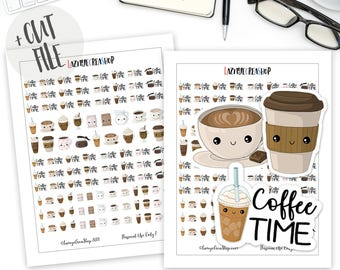 Printable Coffee Stickers, Happy Planner, Kawaii Stickers, Bullet Journal Stickers, Functional Stickers, Coffee Cup Stickers, Cute Stickers
