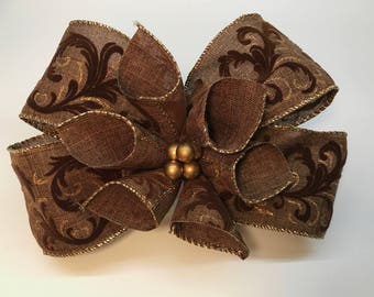 Autumn or Christmas Floral Bow in Brown with Velvet and Gold